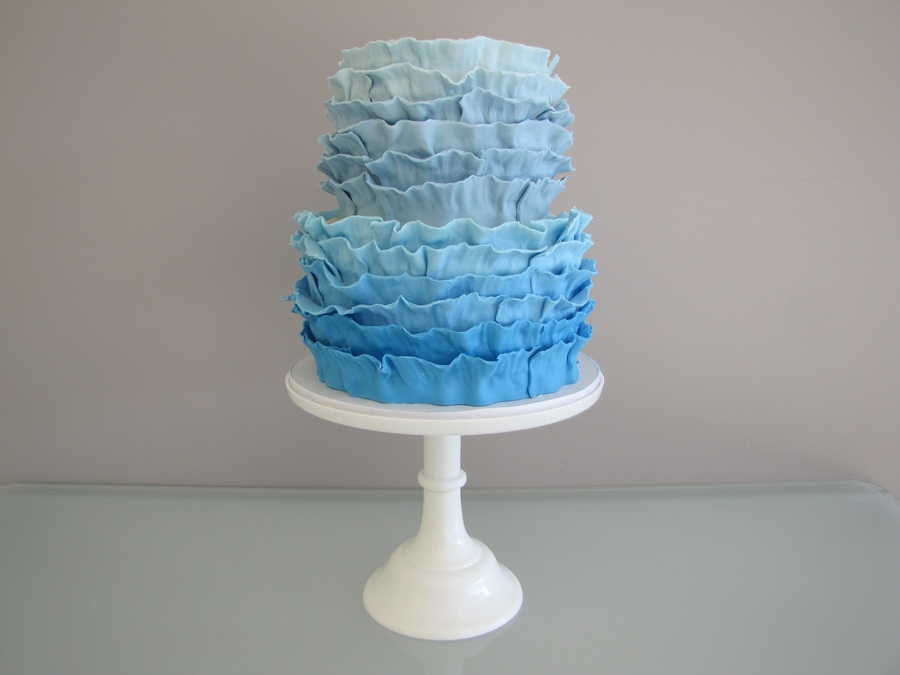 Blue Ombre Ruffle Cake on Cake Central