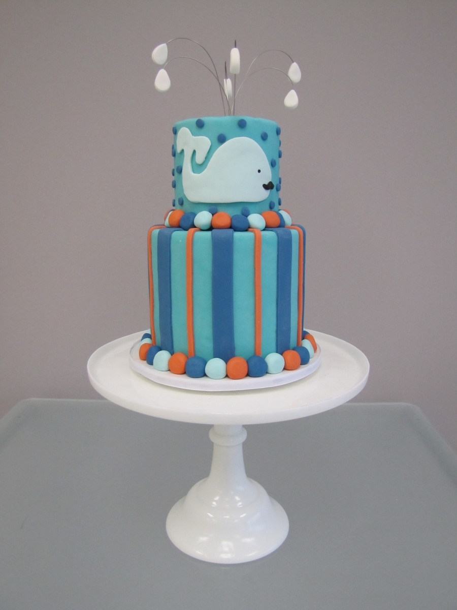 It's A Boy Whale Baby Shower Cake on Cake Central