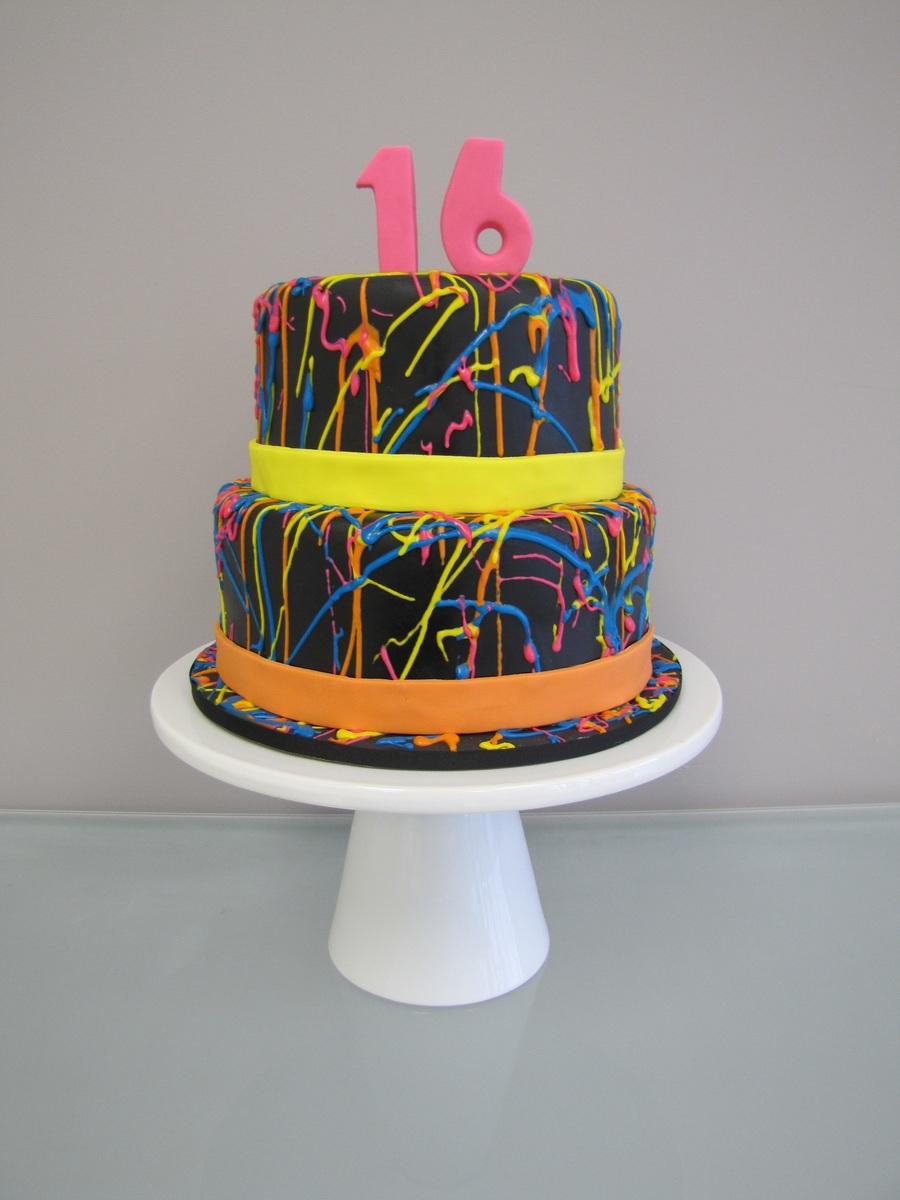Wondrous 80S Neon Splatter Birthday Cake Cakecentral Com Birthday Cards Printable Riciscafe Filternl