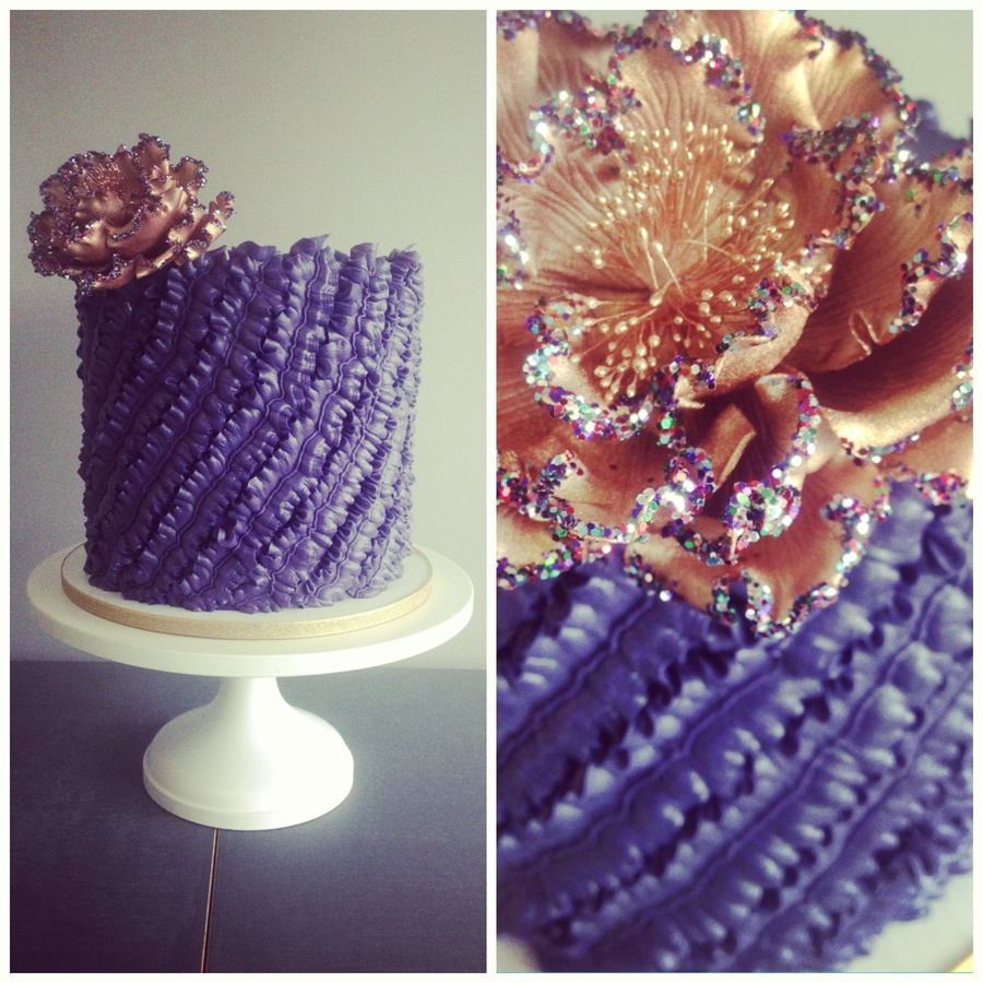 Bronze Glitter Ruffle Cake on Cake Central