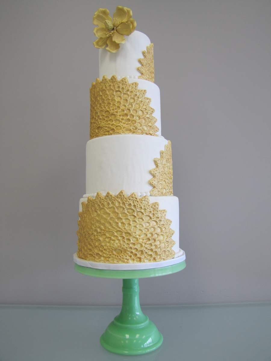 Gold Magnolia Cake on Cake Central