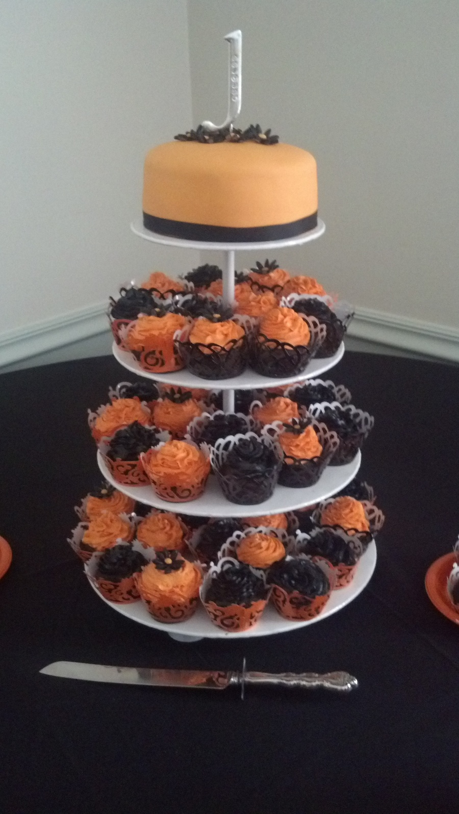 Halloween Themed Wedding Cake And Cupcakes - CakeCentral.com
