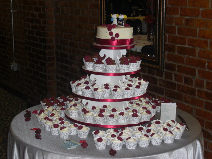 Maroon And Silver Wedding Cakes