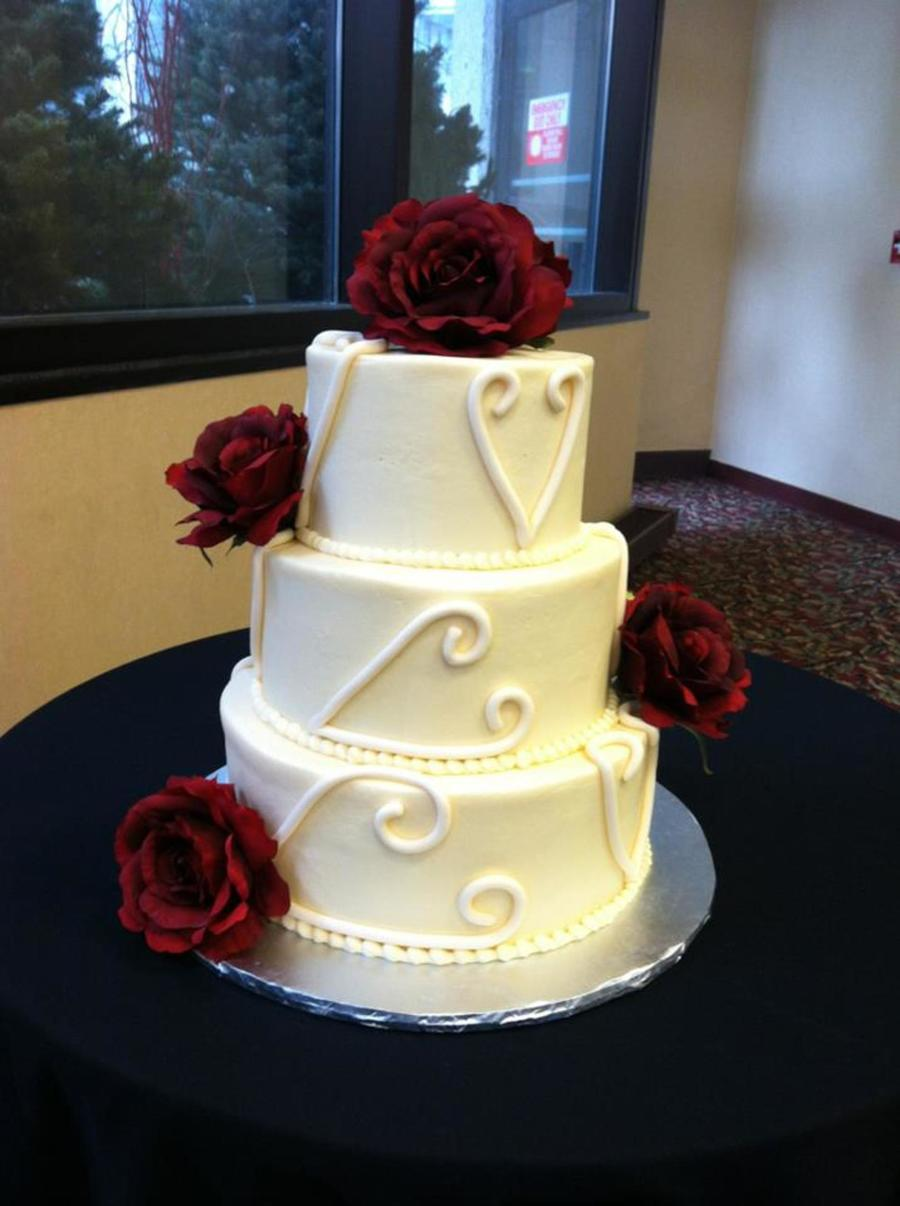 3 Tier Wasc With Vanilla Buttercream Silk Flowers Fondant Heart Accents on Cake Central