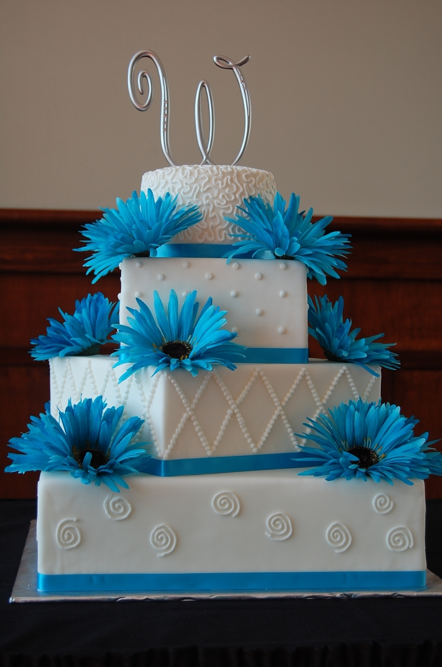 4 Tier Square/round Wedding Cake  on Cake Central
