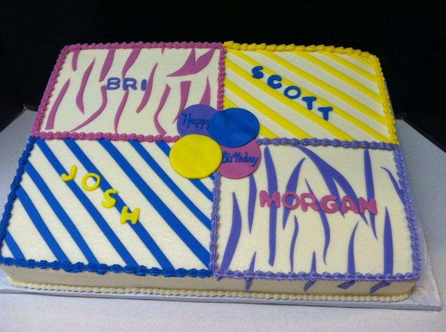 Enjoyable 4Way Split Birthday Sheet Cake Cakecentral Com Funny Birthday Cards Online Eattedamsfinfo