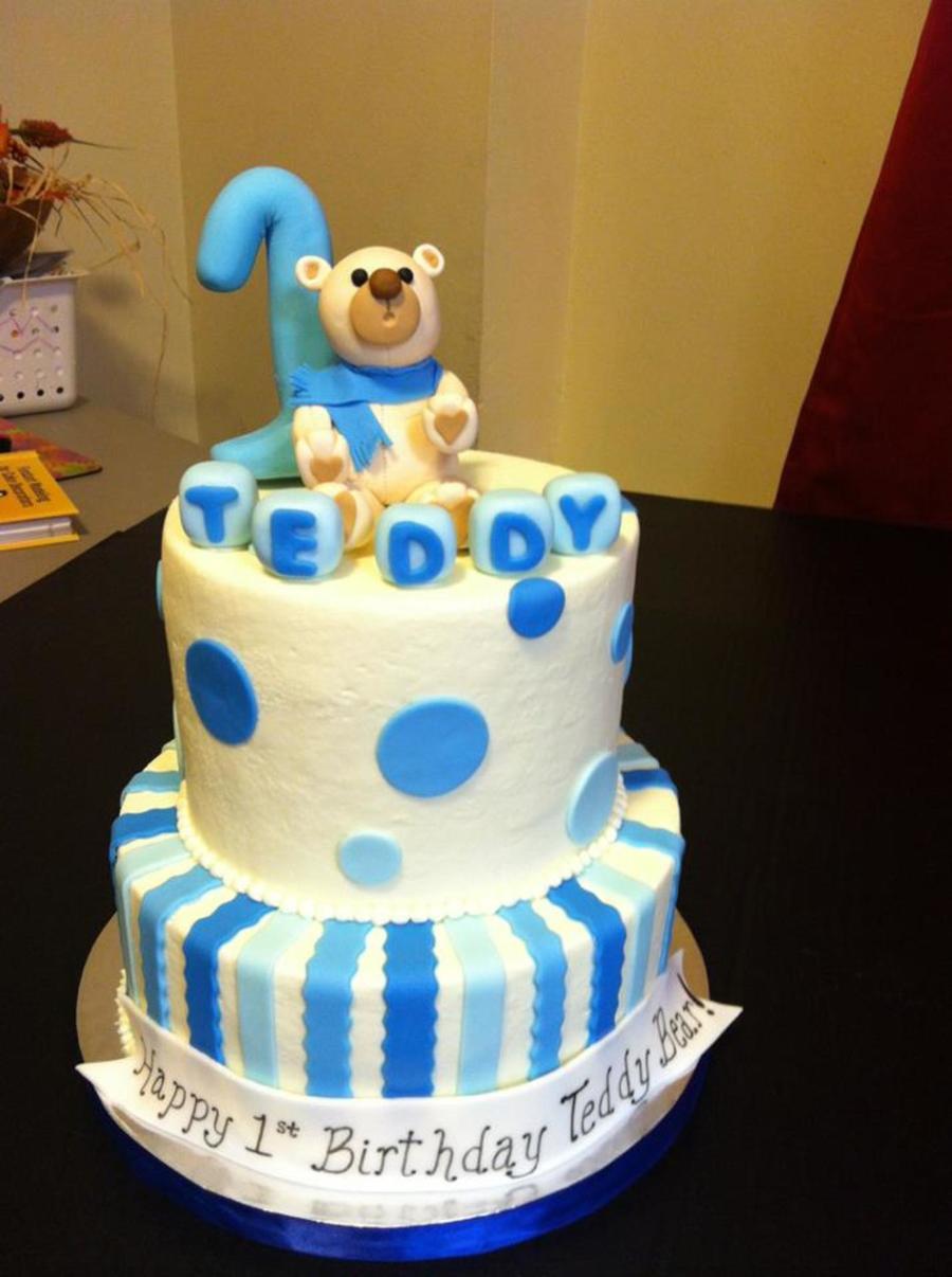 2 Tier Teddy Bear Birthday Cake Gum Paste Bear And 1 Topper