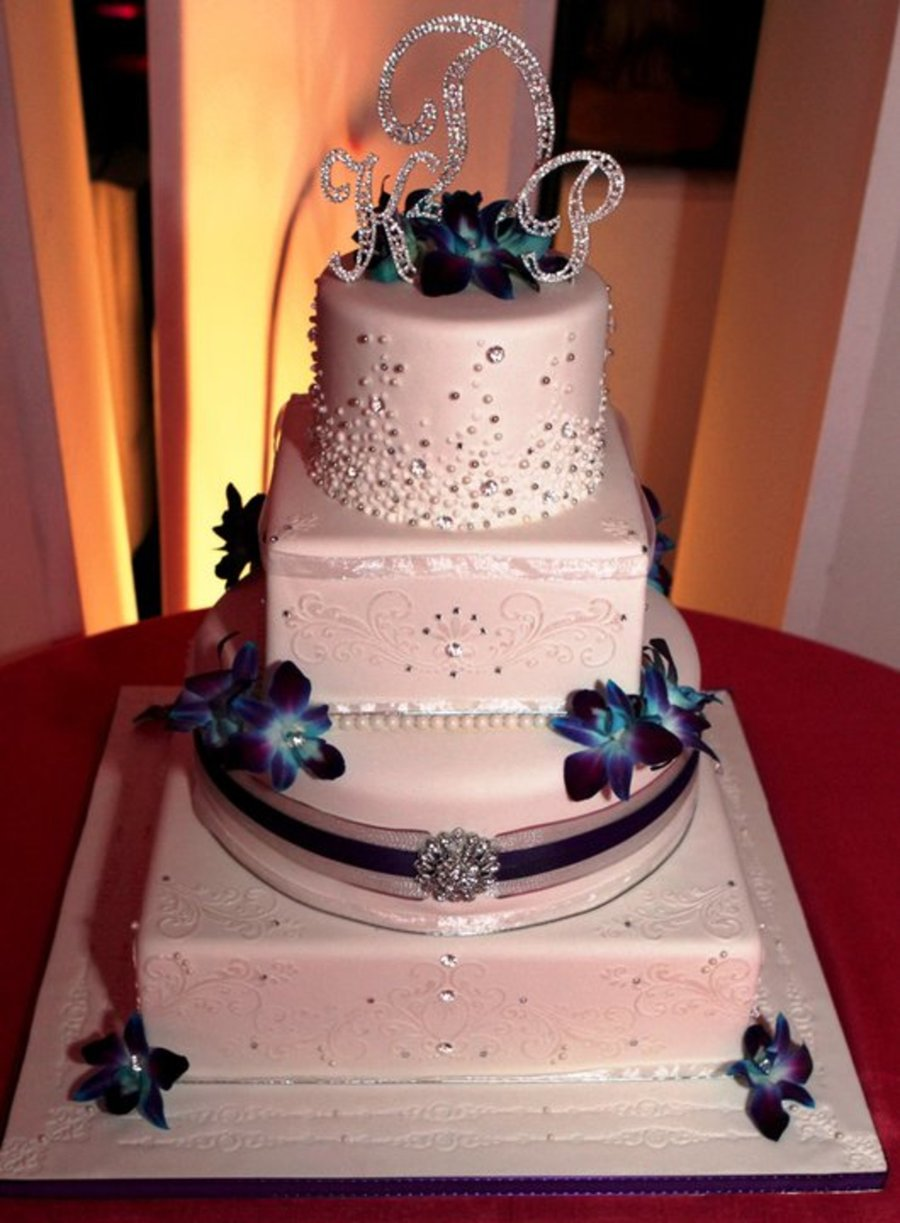 Pearl And Crystal Stencil Wedding Cake - CakeCentral.com