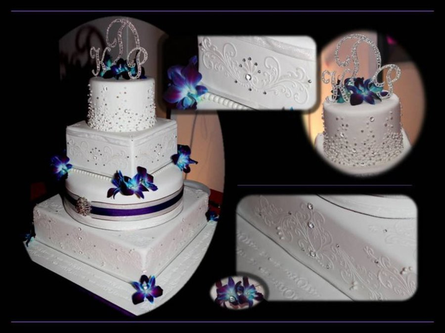Pearl And Crystal Stencil Wedding Cake