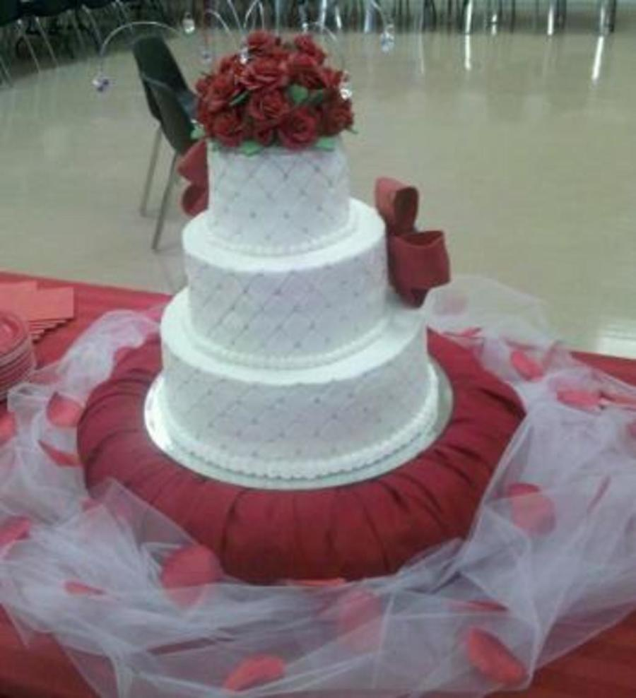 75th Birthday Cake In Red And White Cakecentral