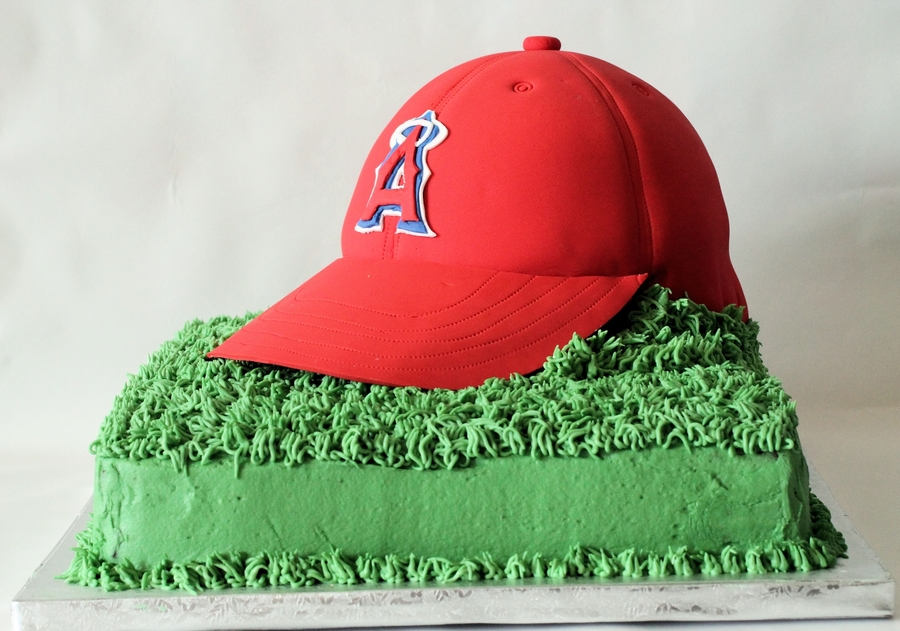 Angels Baseball Hat Cake CakeCentralcom