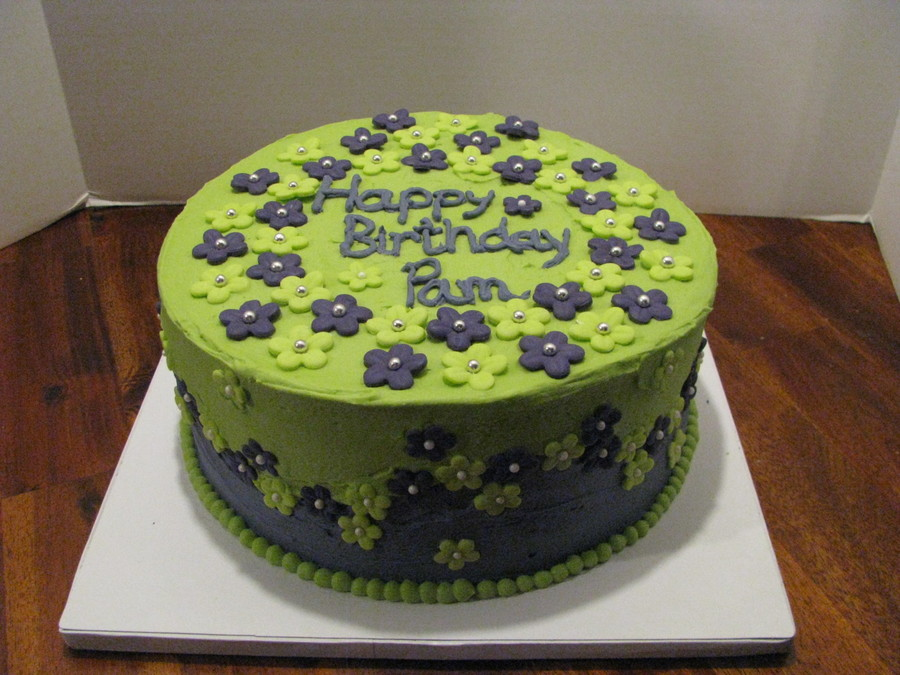 Lime Green & Purple Cake on Cake Central