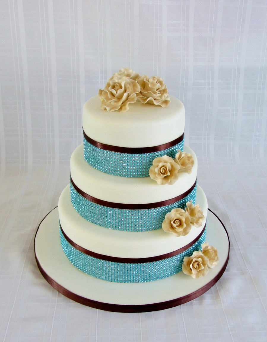 Teal Wedding Cake on Cake Central