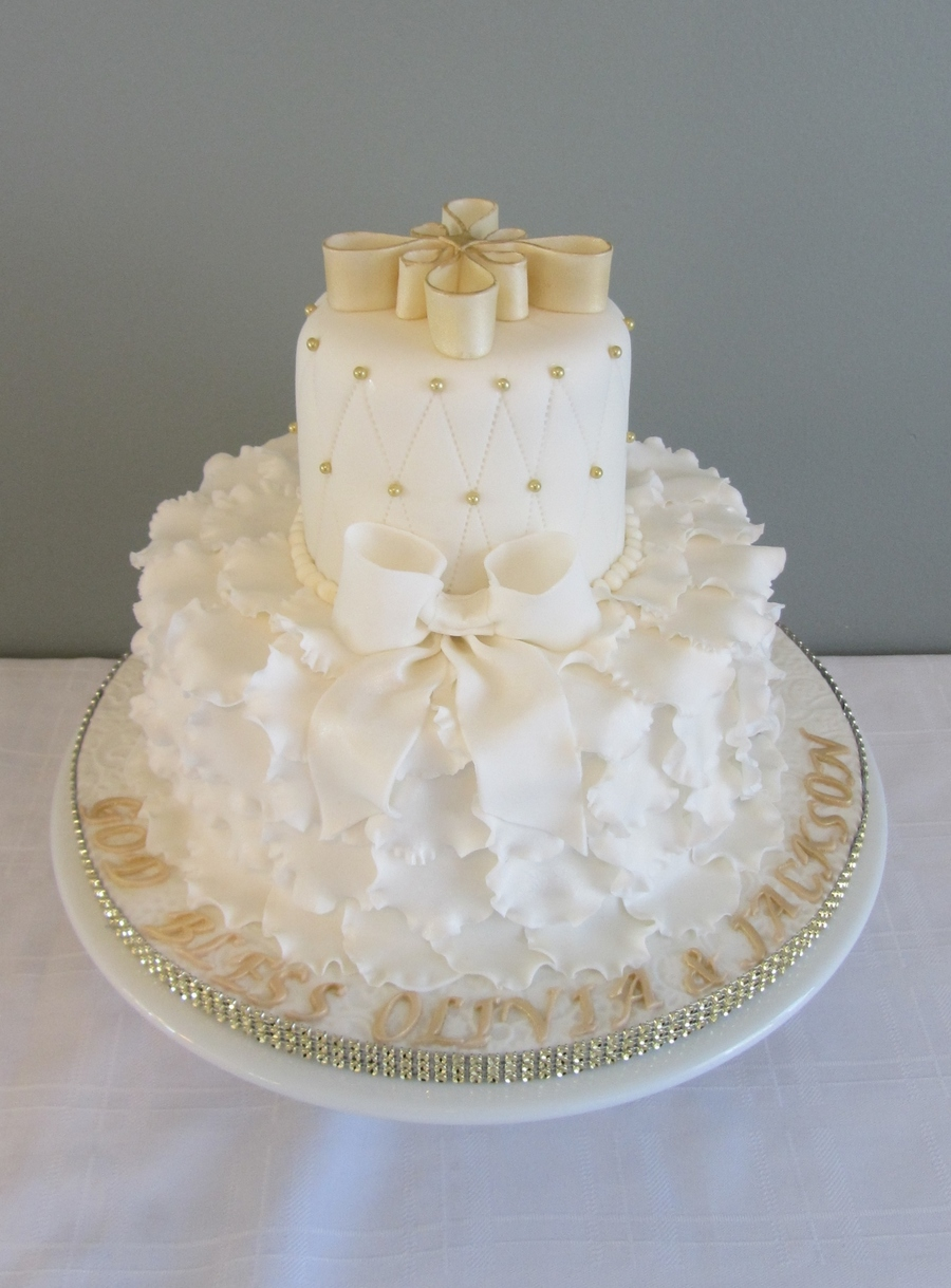 White And Gold Baptism Cake Cakecentral Com