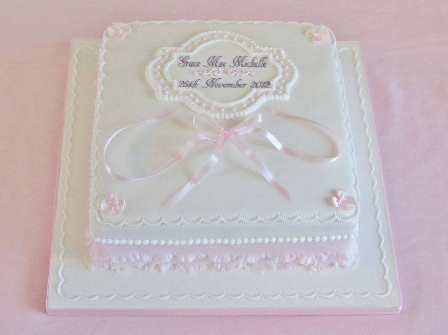 Pink Ribbon Christening on Cake Central