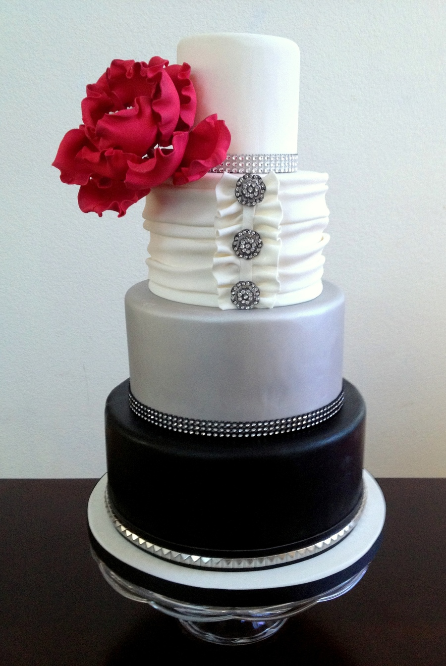 Fondant Wedding Cake Bottom Tier Is Airbrushed Black With A Faux ...