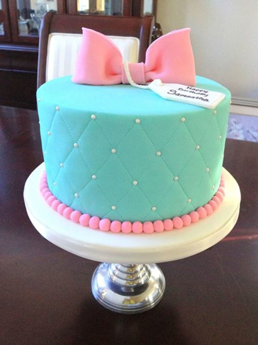 Turquoise Gift Box Cake - CakeCentral.com