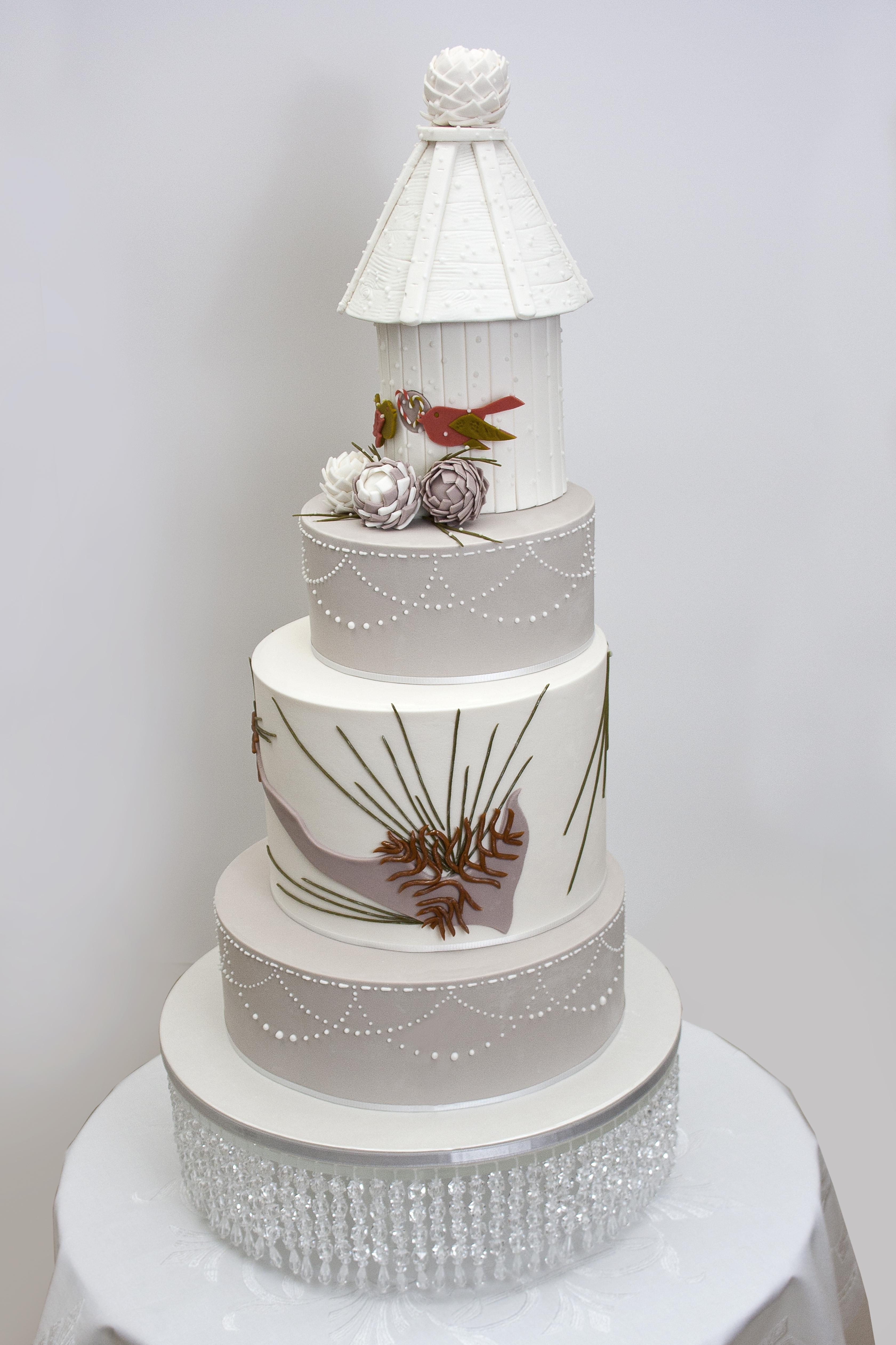 Holiday Wedding Birds Cake - CakeCentral.com