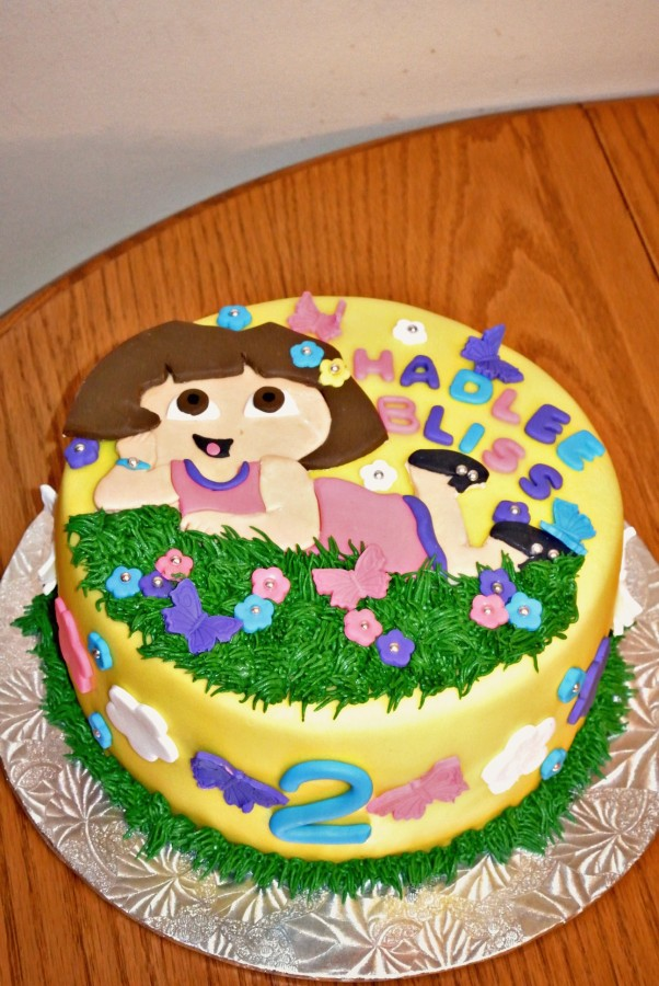Dora The Explorer Themed 2Nd Birthday Cake Dora Is Handcut ...