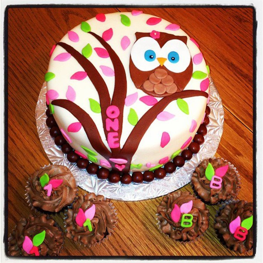 Owl Themed First Birthday on Cake Central