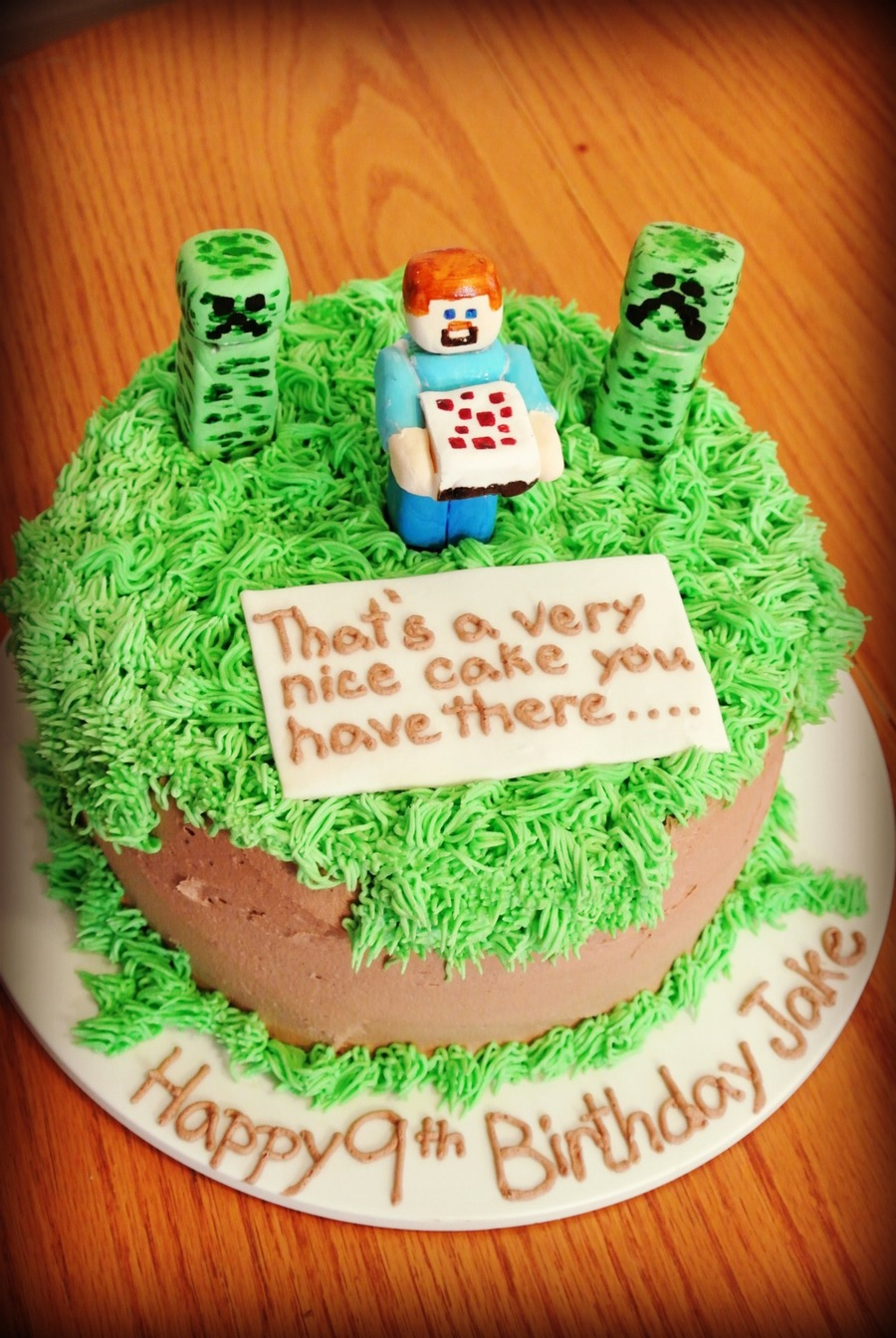 Minecraft Birthday Cake Gumpaste Characters With Buttercream
