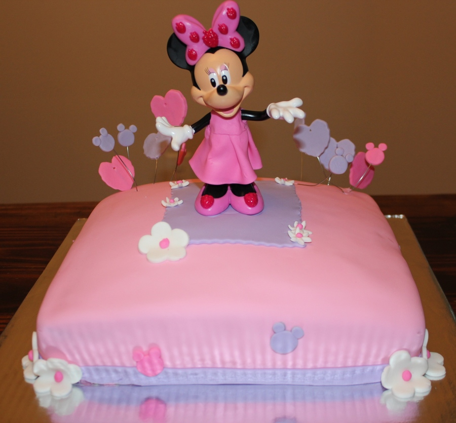 Minnie Mouse Chocolate Cake With Chocolate Frosting Pink Amp Purple Fondant Decor on Cake Central