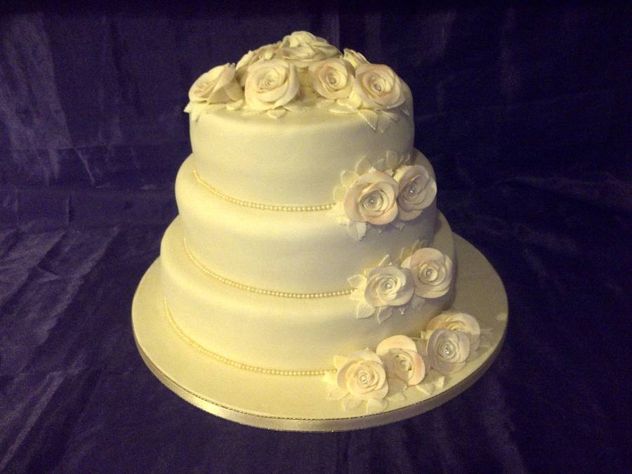 Ivory 3 Tier With Roses on Cake Central