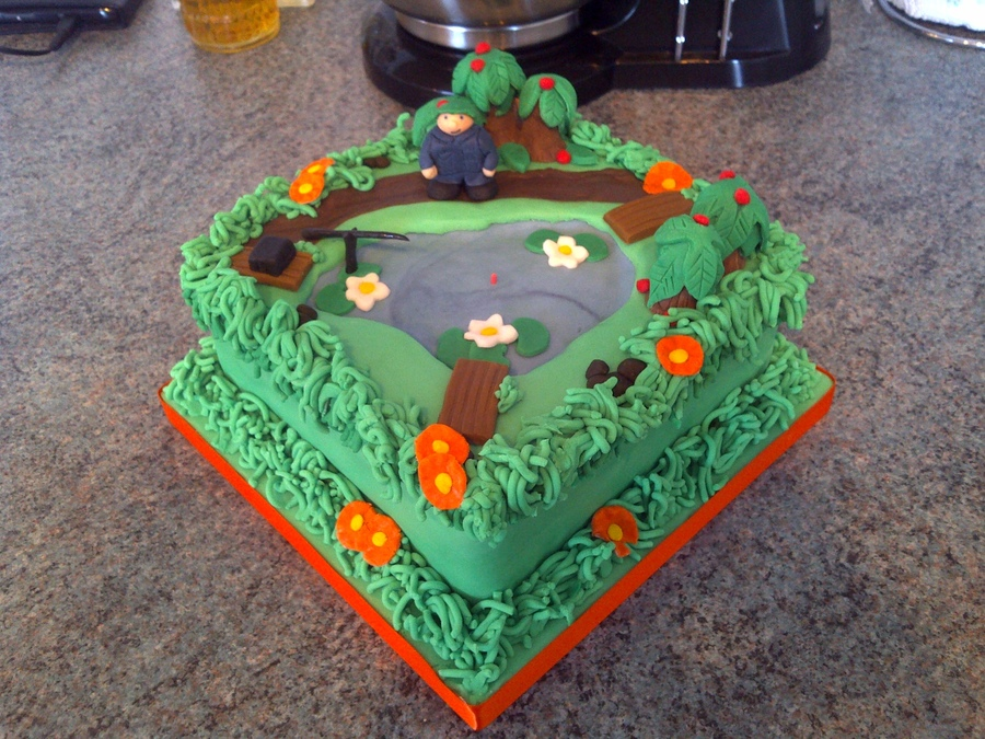 Pond With Fisherman on Cake Central