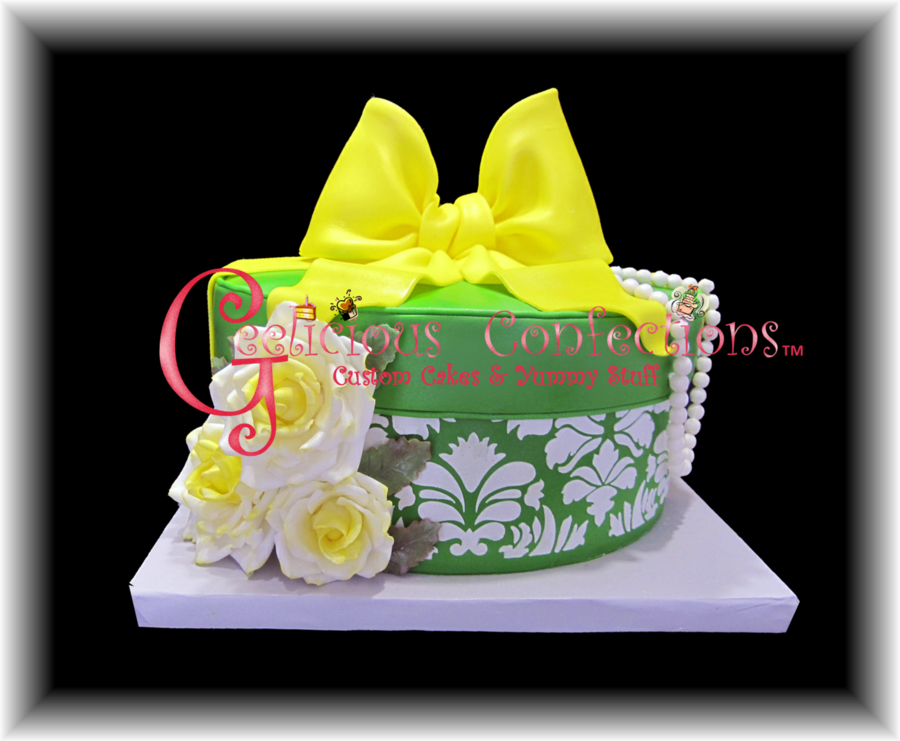 Green & Yellow Round Hat Box Cake on Cake Central