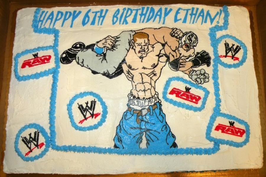 Excellent Wwe John Cena Rey Mysterio Cakecentral Com Personalised Birthday Cards Veneteletsinfo