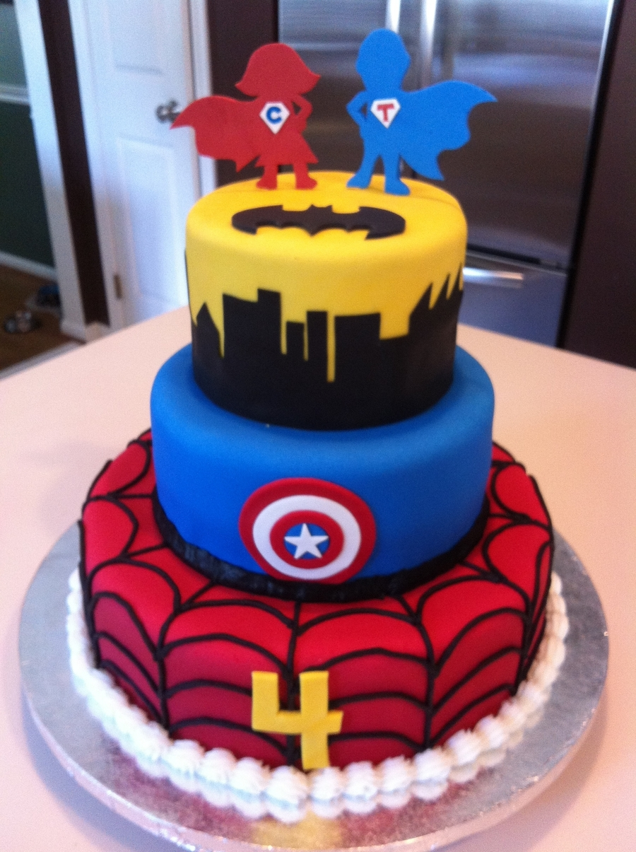 Captain America And Spiderman Cake