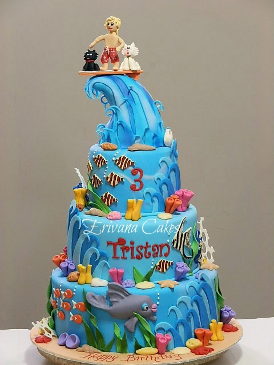 Seawater And Surfing Cake - CakeCentral.com