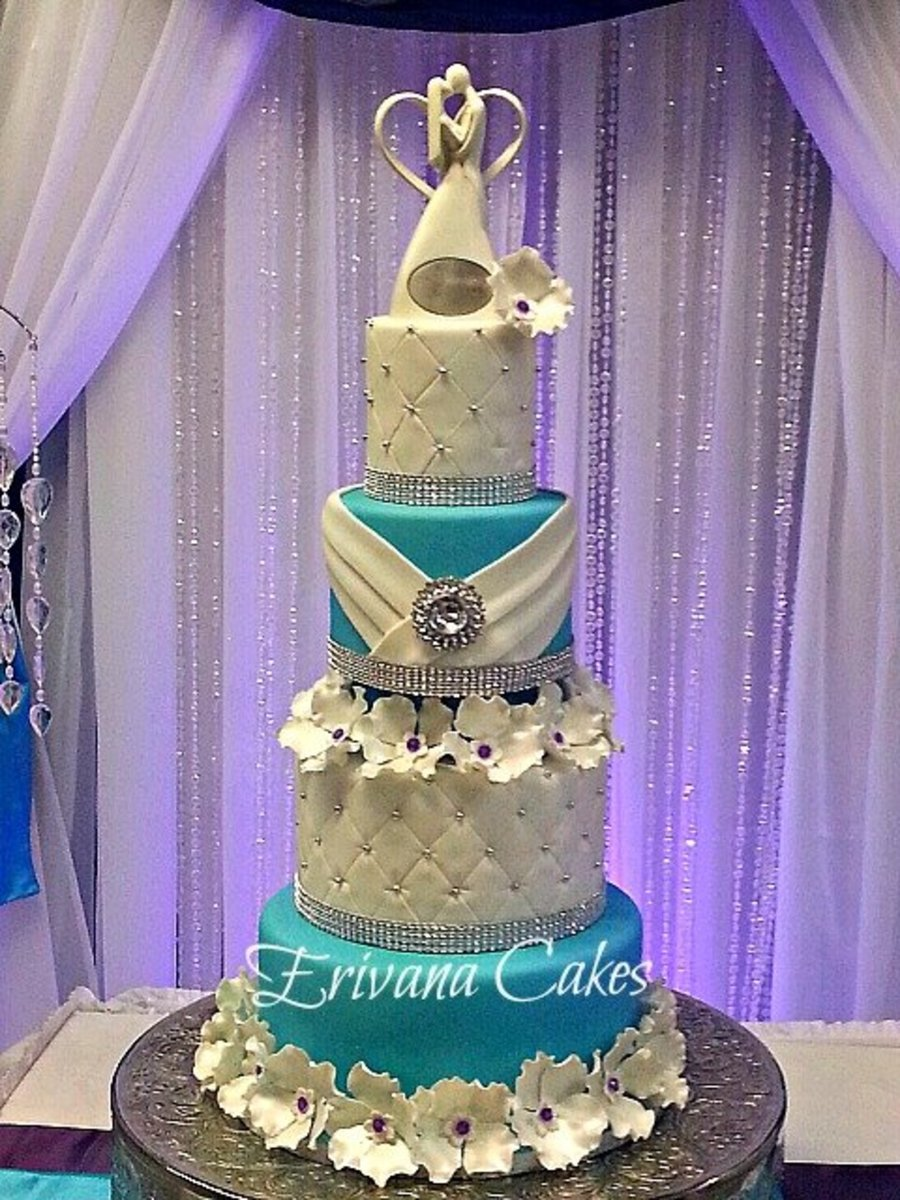 Tiffany Blue And Purple Wedding Cake - CakeCentral.com