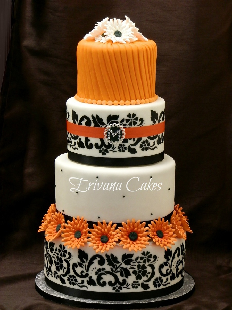 wedding cake orange orange and black damask wedding cake cakecentral 23347