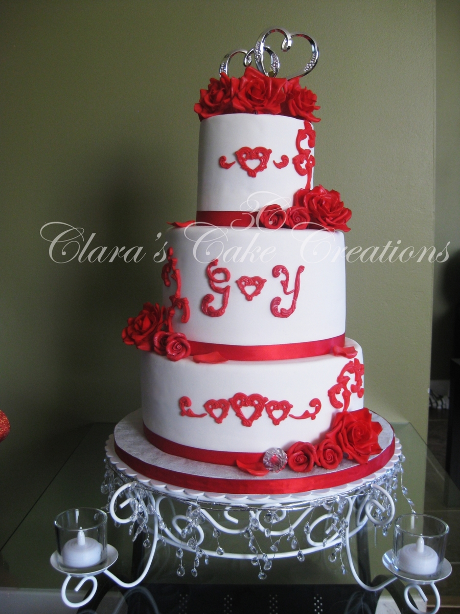 Valentine's Day Themed Wedding Cake on Cake Central