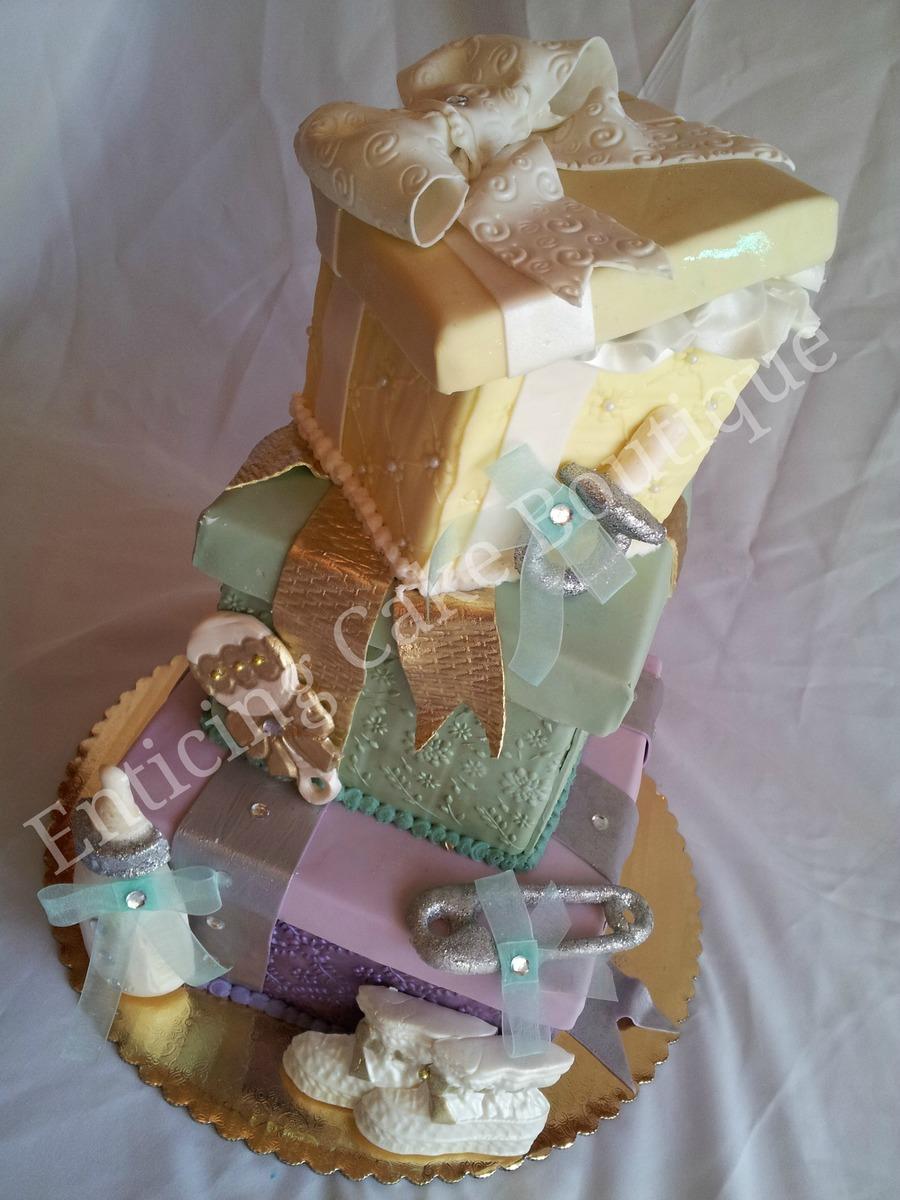 Cake Gift Box Fondant : Baby Shower Gift Box Fondant Cake - CakeCentral.com