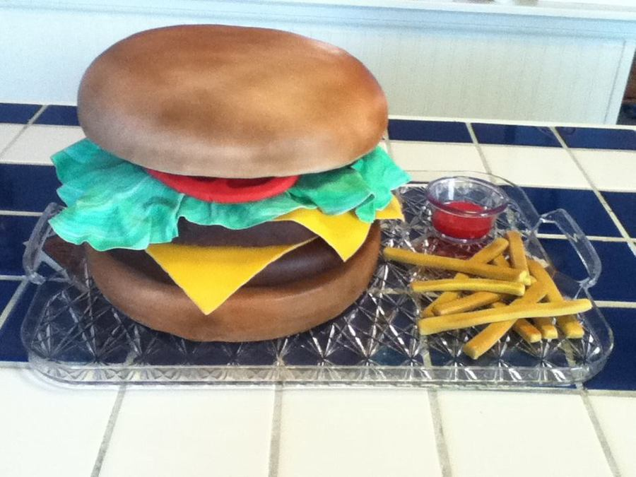 Burger And Fries on Cake Central