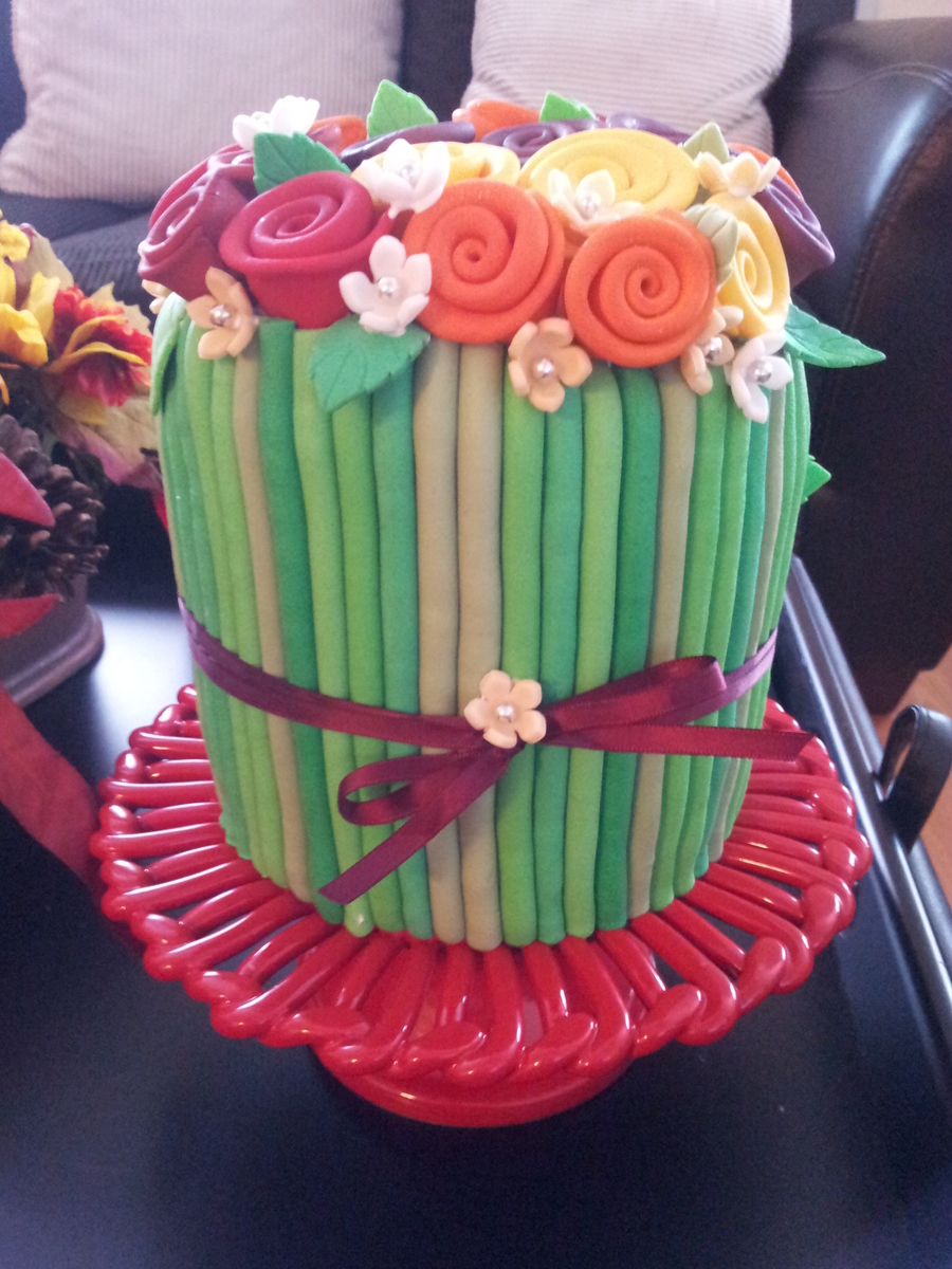 Ribbon Rose Cake In Vibrant Fall Colors Birthday Cake For My Aunt