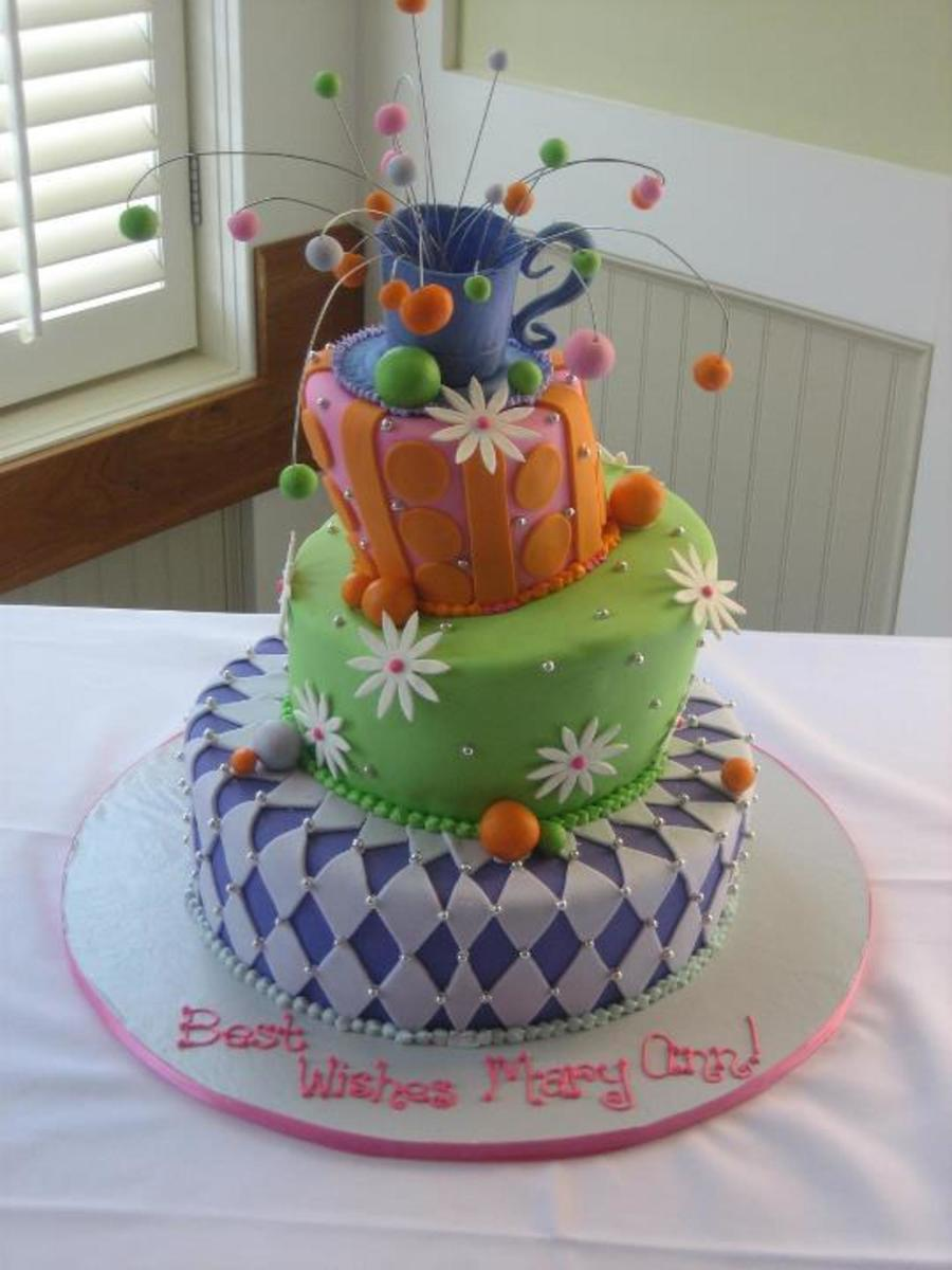 Magical Mad Hatter Bridal Shower Cake - CakeCentral.com