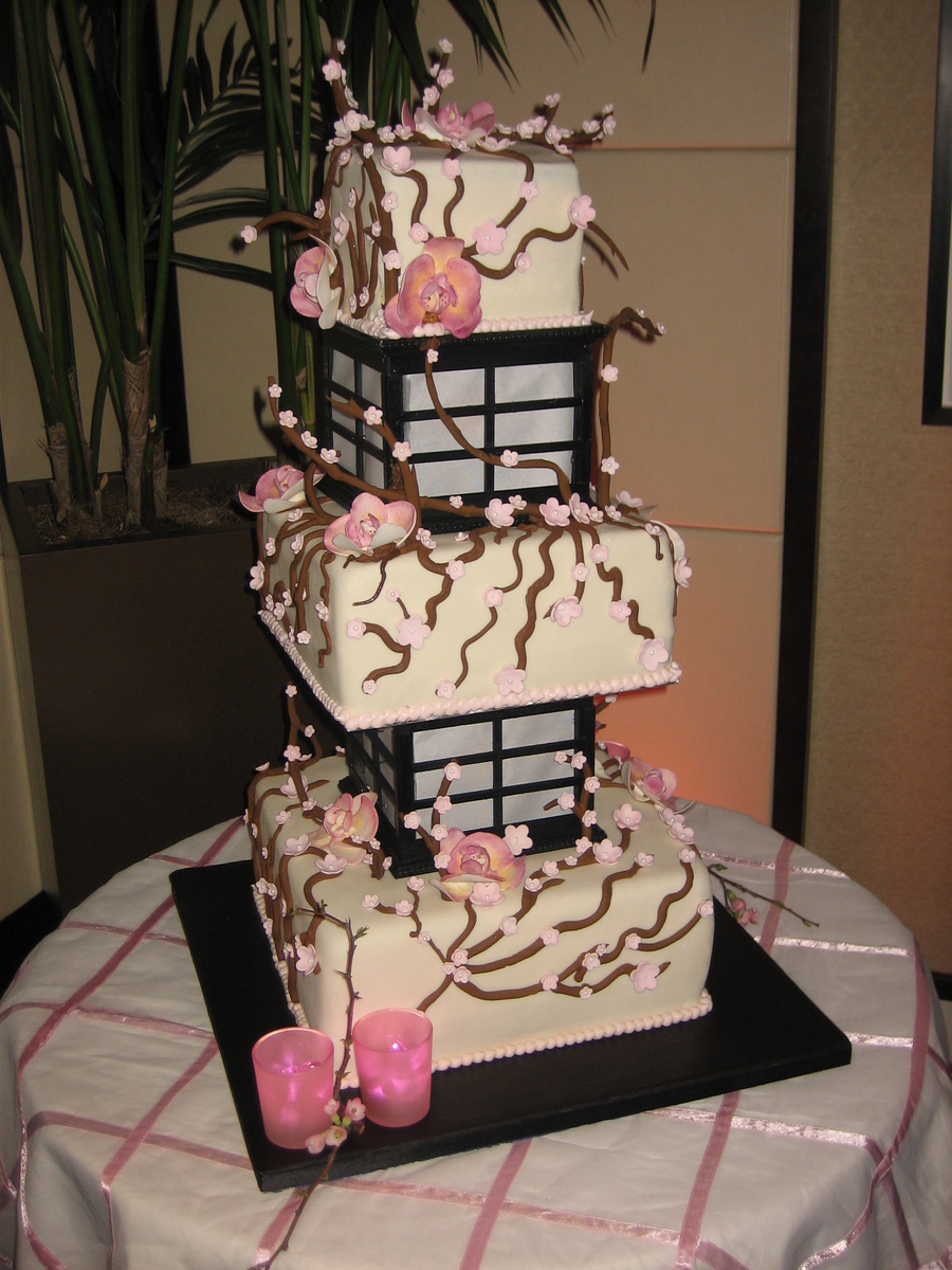 Cherry Blossom Lantern Wedding Cake Lights Up