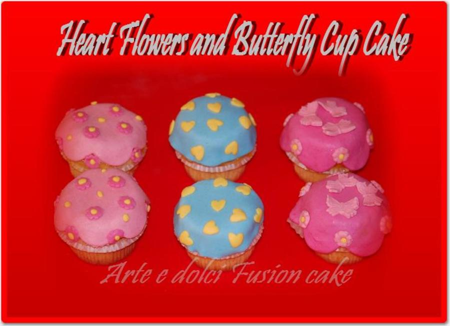 Heart & Butterfly Cup Cake  on Cake Central