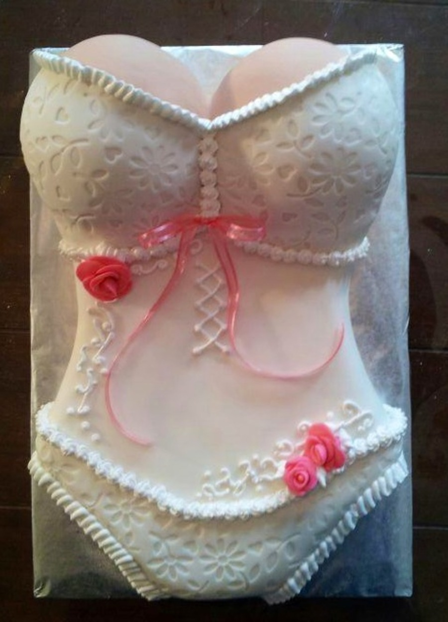 pretty white and pink corset cake for a friends bridal shower