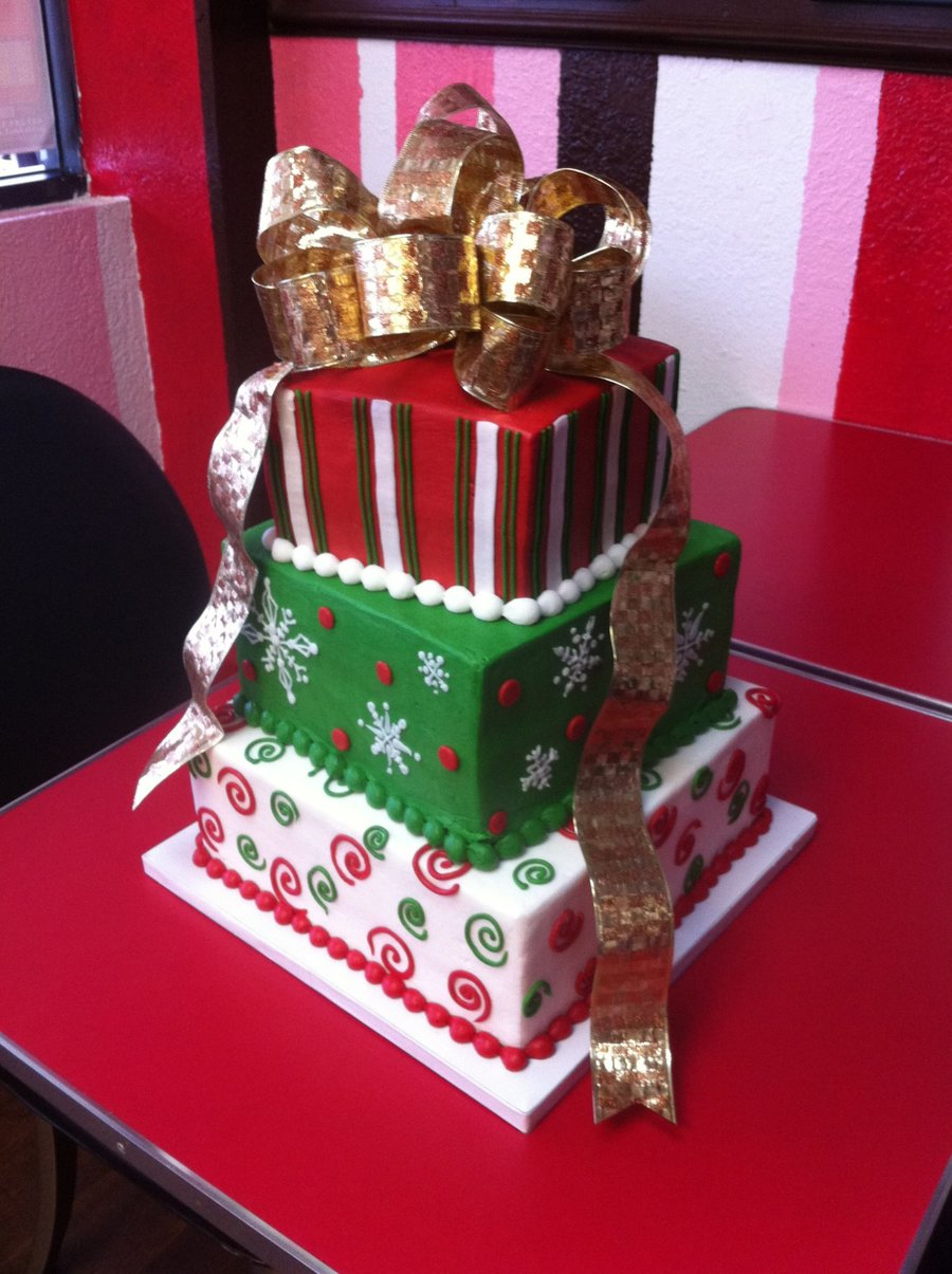Tiered Christmas Gifts Cake on Cake Central