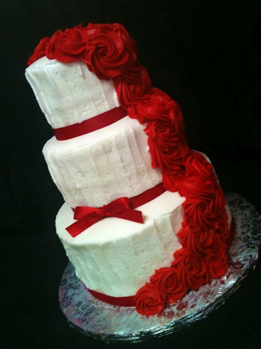 Red/white Wedding With Cascading Roses on Cake Central