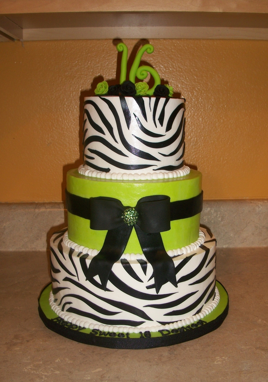 Zebra Print And Hot Green Bow Cake - CakeCentral.com