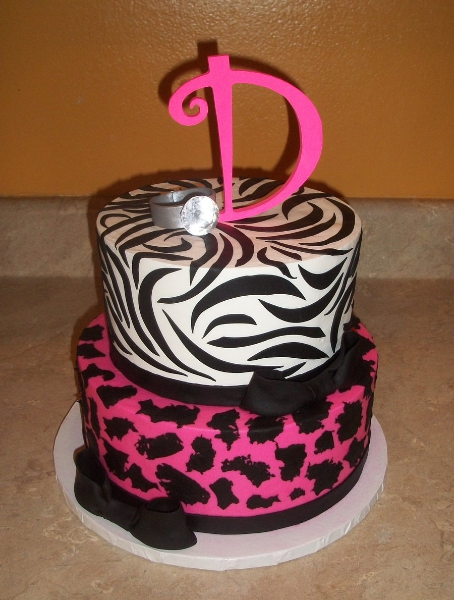 Engagement Animal Print Cakejpg on Cake Central