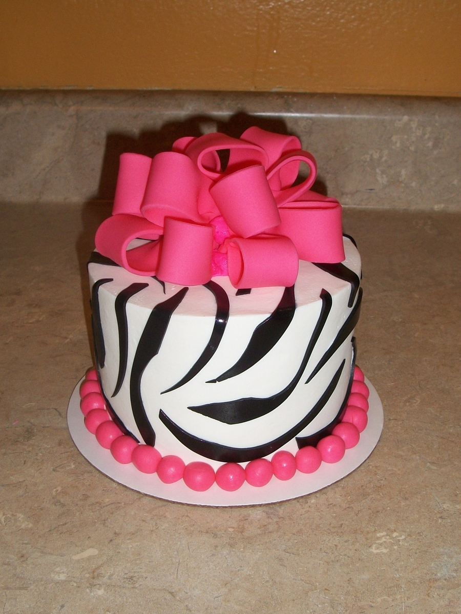 Pink Black And White Zebra With Bow Cakecentral Com
