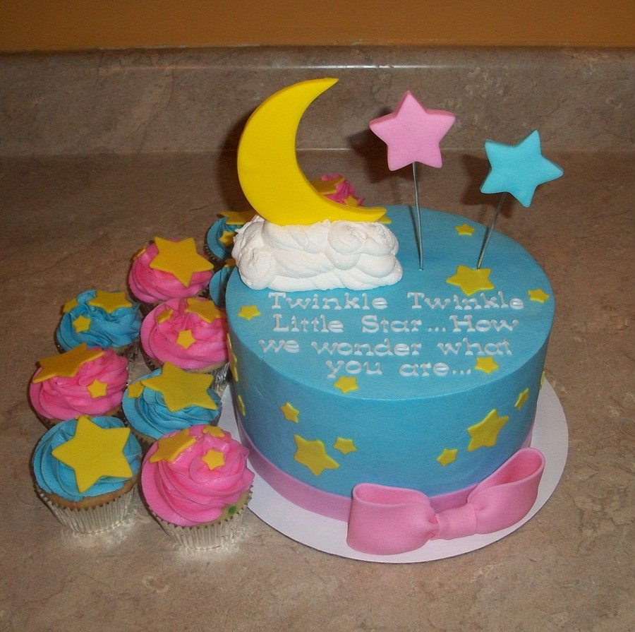 Twinkle Twinkle Cake With Cupcakesjpg on Cake Central