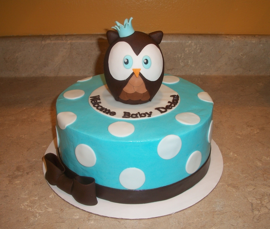 Blue Owl Baby Shower Cake on Cake Central
