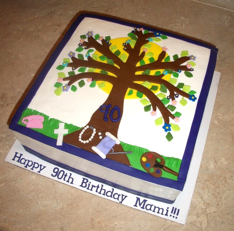 90Th Birthday Cake Each Large Branch And Flower Represents A Child The Smaller Branches And Flowers Represent The Grandchildren And Great on Cake Central